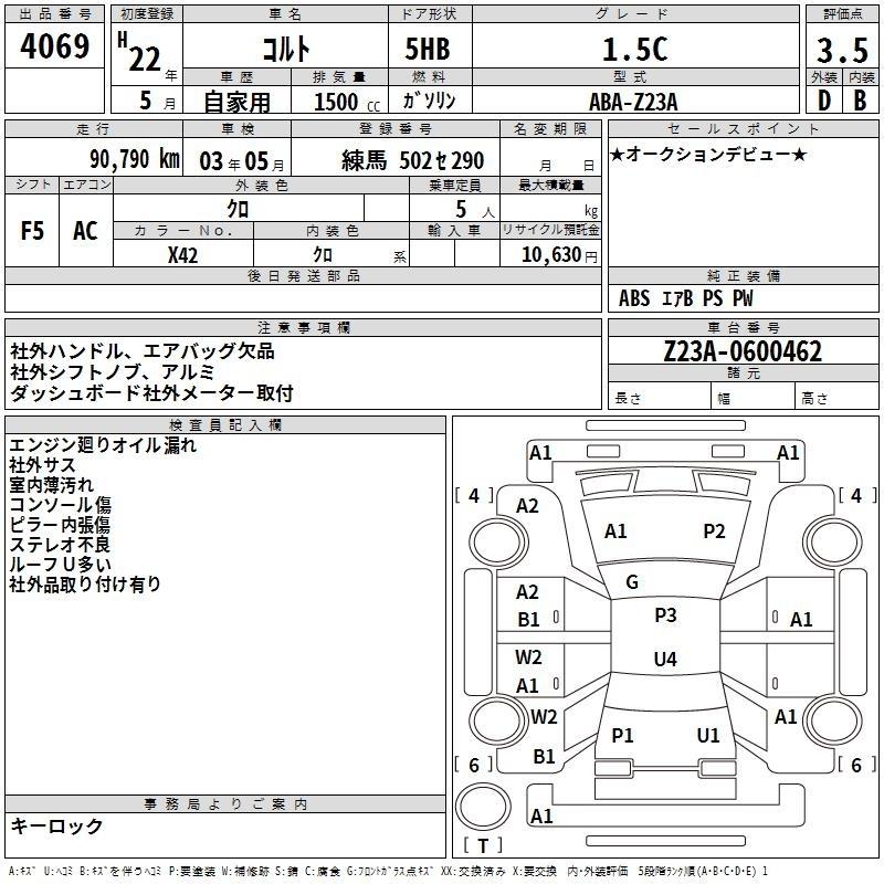 Mitsubishi Colt Specification